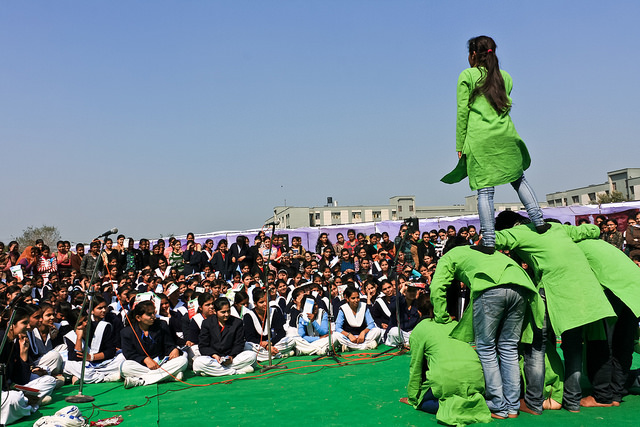 Students performing at an interactive theatre in one of the participating schools.