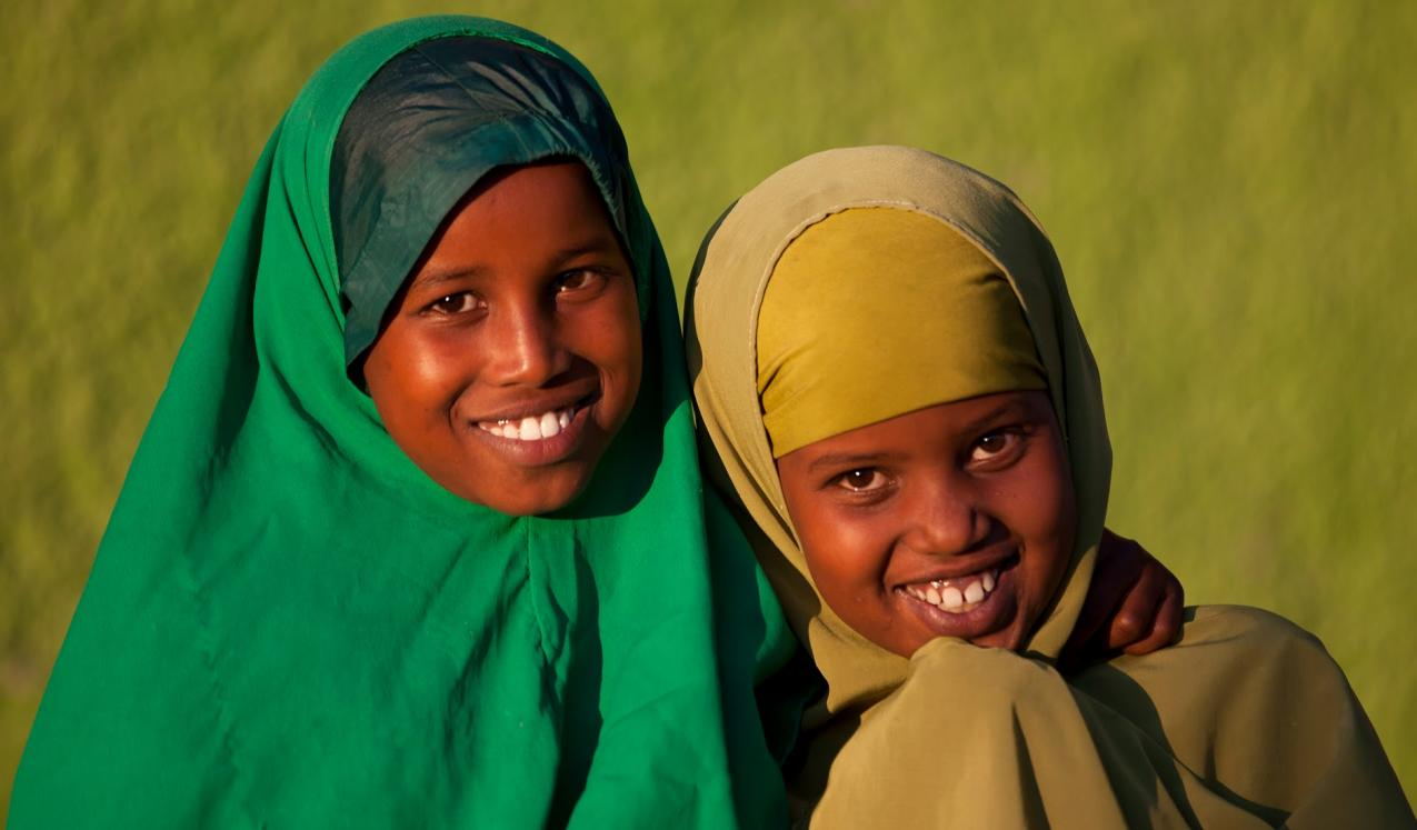 © Eric Lafforgue/2011. Portrait of teenage girls wearing green hijabs in Boorama, Somaliland.