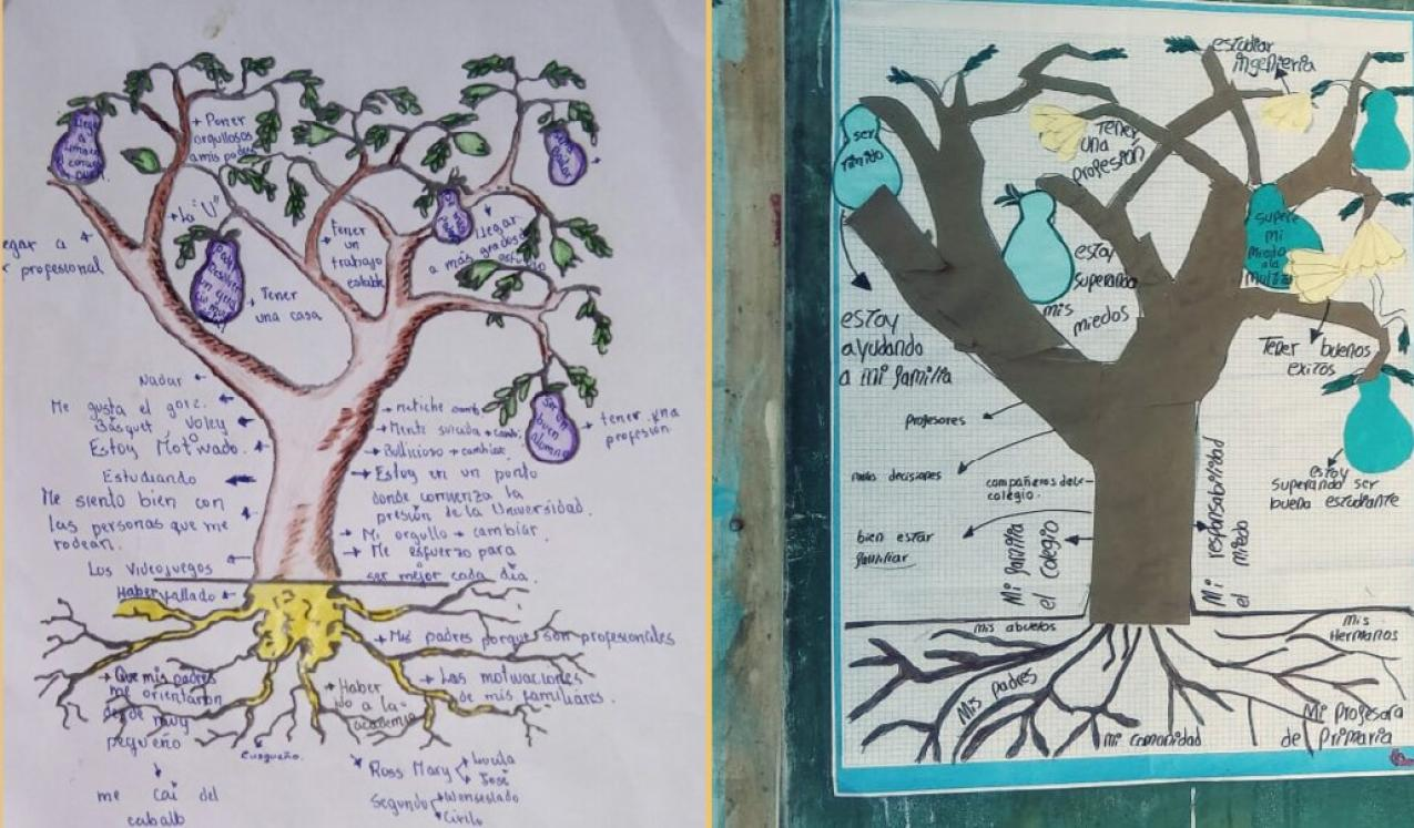 Examples of the 'Tree of life' worksheet for students as part of the Visionara research