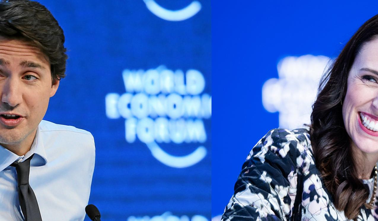 Leaders Justin Trudeau and Jacinda Ardern at the World Economic Forums in 2016 and 2020 respectively. © World Economic Forum/Remy Steinegger and World Economic Forum/Boris Baldinger