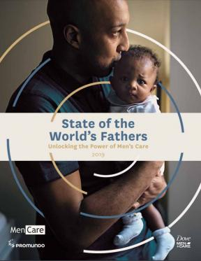 Cover of report showing a man kissing to top of a baby's head