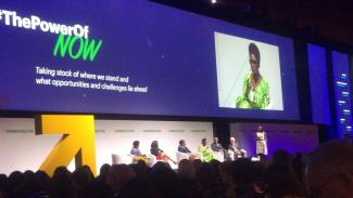 Oxfam Executive Director Winnie Byanyima speaking in one of the plenary sessions