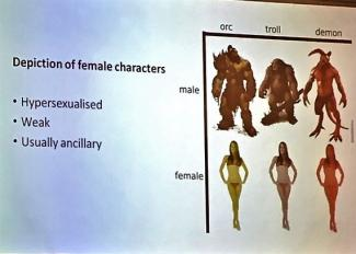 One of the slides during the conference showing representations of men and women
