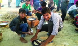 Boys take part in a cooking competition in Nepal