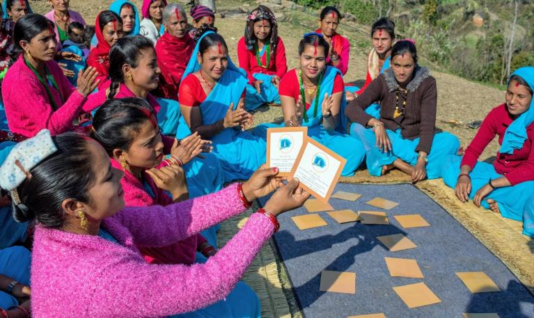 Women and girls taking part in a Pragati game in Nepal