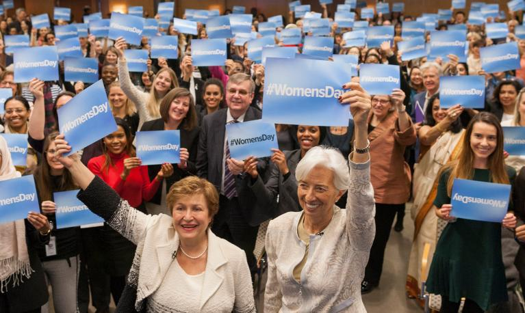 Managing Director and Chairwoman of the IMF Christine Lagarde and Interim WBG President Kristalina take part in #WomensDay activities in Washington. © World Bank / Simone D. McCourtie