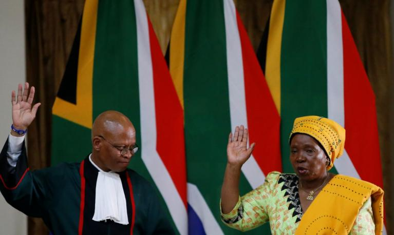 Nkosazana Dlamini Zuma is sworn in as South Africa's Minister of Cooperative Governance and Traditional Affairs, May 30, 2019. REUTERS/Siphiwe Sibeko