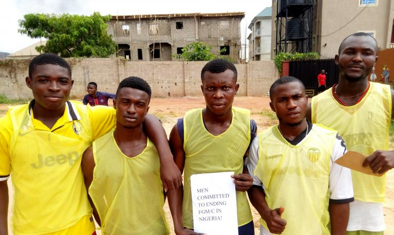 The five-a-side team from Atako community confirm their commitment to ending FGM/C in Nigeria.  © Society for the Improvement of Rural People (SIRP)