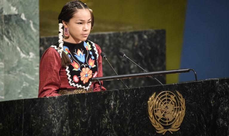 "Autumn Peltier, 13-year-old water advocate from the Anishinaabe tribe of Canada, addresses the event to launch the International Decade for Action titled ""Water for Sustainable Development 2018–2028"". ©UN Photo/Manuel Elias"