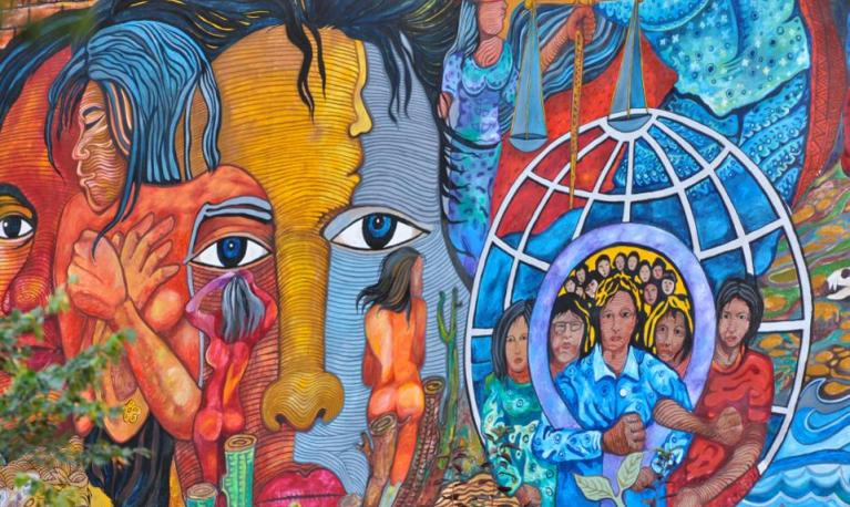 "Mural entitled ""Women for Peace and Environment"" by artist Bert Monterona STEPHENZACHARIAS, FLICKR"