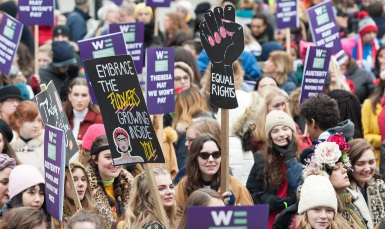 Women in London take part in a global protest against sexual violence and economic discrimination in 2019. Photograph: Wiktor Szymanowicz/REX/Shutterstock