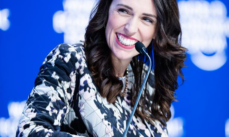 Jacinda Ardern, who has been described as being gender-sensitive leader, at the World Economic Forum. © World Economic Forum/Boris Baldinger