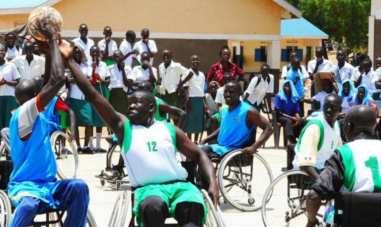 Athletes with disabilities play wheelchair basketball in South Sudan. © UNMISS/Isaac Billy