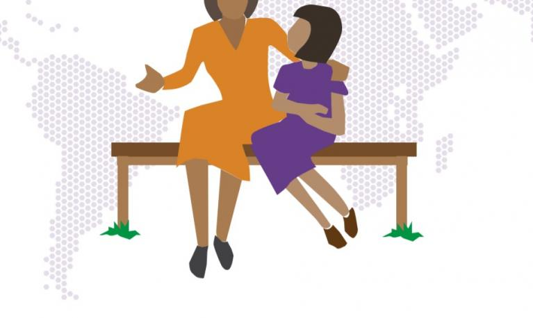Animation of a women and her daughter sat on a bench. © IASC