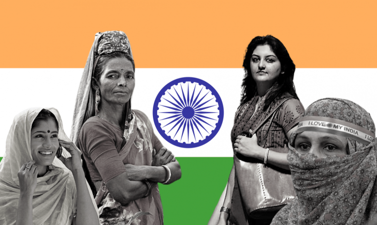 India women with the India flag behind them @Feminism in India