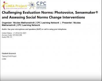 Challenging Evaluation Norms Photovoice, Sensemaker and Assessing Social Norms Change