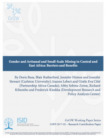 Gender and Artisanal and Small-Scale Mining in Central and East Africa: Barriers and Benefits