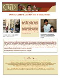 First page of the women, gender and disaster factsheet