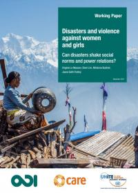 Cover of disasters and violence against women and girls paper