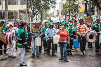 Nohra Padilla, leader of the Asociación de Recicladores de Bogotá (ARB) leads a contingent of waste pickers as they demonstrate against city policies and programmes affecting waste pickers. © Juan Arredondo/Getty Images/Images of Empowerment
