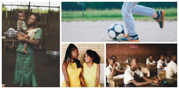 A collage of women doing sport, at school, with children, socialising
