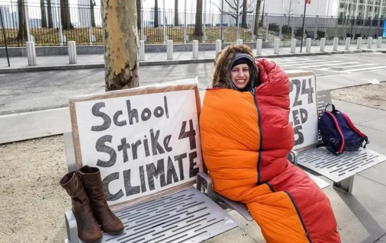 Alexandria Villaseñor protesting about climate change in New York.